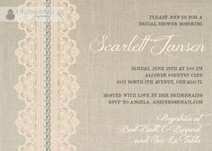 Pearls & Lace Bridal Shower Invitation Peach by digibuddhaPaperie, $20.00
