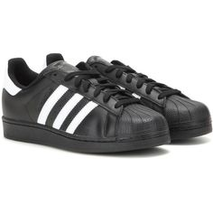 Adidas Superstar Foundation Leather Sneakers ($105) ❤ liked on Polyvore featuring shoes, sneakers, adidas, sapatos, trainers, black, black leather trainers, adidas trainers, leather shoes and real leather shoes