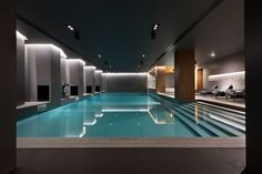 SPA in Relax Park Verholy / YOD studio Completed in 2016 in Sosnivka, Ukraine. Images by Andrey Avdeenko. Located in a picturesque pine forest in Poltava region, Relax Park Verholy hotel complex is one of the most stylish and comfortable hotels of. Hotel Swimming Pool, Indoor Swimming Pools, Swimming Pool Designs, Pool Spa, Lap Pools, Backyard Pools, Pool Decks, Pool Landscaping, Piscina Hotel