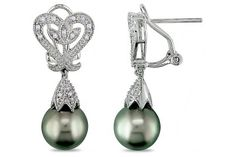 0.06 CT  Diamond TW 10 - 10.5 MM Black Tahitian Pearl Ear Pin Earrings Silver GH I2;I3
