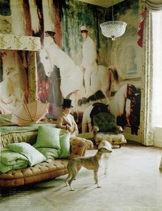 """Alfred de Dreux's Portrait of Monsieur and Madame Mosselman and Their Two Daughters, 1848 - """"Blow Up"""" by Tim Walker for W Magazine April 2011 Meas Vintage, Vintage Space, Vintage Room, Vintage Decor, Exterior Design, Interior And Exterior, Tim Walker Photography, Interior Inspiration, Design Inspiration"""