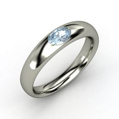 Oval Aquamarine, Solitaire, Burnish Set Ring in Sterling Silver