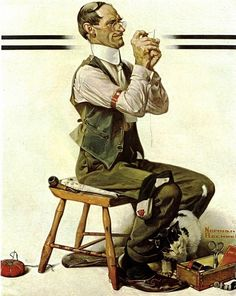 """A Man Carefully Threading a Needle""  painted 1922  Norman Rockwell (American 1894-1978)"