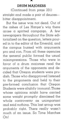 Pt.2 of description of the 1939 controversy at Oregon over whether women should be allowed to be a drum majoress in the University Band.  From the 1939 Oregana (University of Oregon yearbook).  www.CampusAttic.com