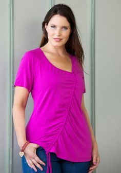 exelle shirt with front detail in beautiful bright fuchsia