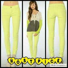 """Free People Skinny Corduroy Pants These cords are brand new. They are a skinny style cord in Neon Lime which is a bright greenish yellow. Made of 98% cotton 2% spandex. Tag size is 26. Inseam is approximately 31"""" long. Free People Pants Skinny"""