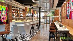 Modern Bar Design Ideas created by Yantram Animation Studio. Interior Design Renderings, 3d Interior Design, Interior Rendering, Bar Interior, Commercial Interior Design, Commercial Interiors, Studio Interior, 3d Rendering, Architectural Design Studio