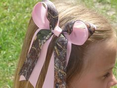 Mossy Oak Camo Hair Bow with Tails and Pink by bowsforthebelle, $4.50  flower girl bows!
