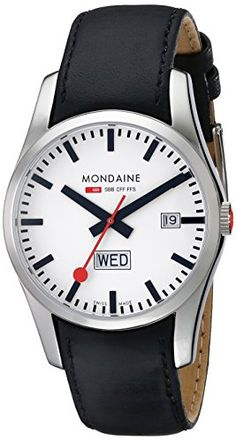 Men's Wrist Watches - Mondaine Mens A6673034011SBB Retro Gents DayDate Leather Band Watch -- Read more at the image link. (This is an Amazon affiliate link)