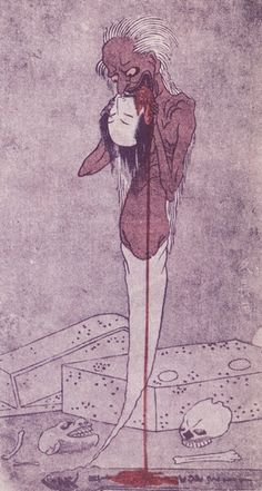 "首かじり / Kubikajiri / Ghost that bites woman's severed head from ""Nihon yokai zukan"" by Ippitsusai Buncho 