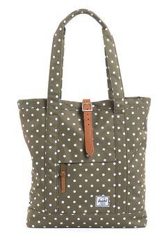 ee70eabe12 HERSCHEL SUPPLY CO Market Tote Bag olive polka dot  planetsports Herschel  Bag