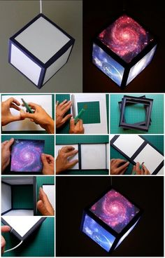 How to Make Galaxy Cube Lamp - Galaxis Galaxy Crafts, Diy Galaxy, Galaxy Projects, Galaxy Art, Galaxy Decor, Galaxy Theme, Space Crafts, Fun Crafts, Galaxy Bedroom