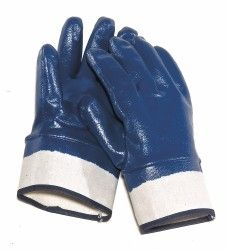 These Heavy duty nitrile Gloves have a smooth coating to that stands up to handling abrasive materials like those used in construction and metal fabrication. Safety Cuff wrist allows easy on and off. They have a soft cotton jersey lining inside for a comfortable fit. Choose Men's Size Large and XL