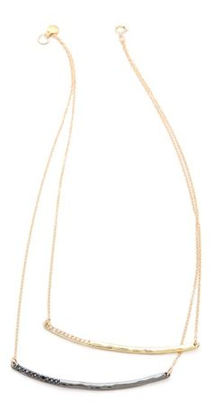 hammered bar double layer necklace - perfect for daily wear