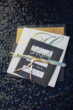 Loving this gold, black and white invitation suite from Emily Clarke Events at Bryant Dewey Seasons Resort and Club Dallas at Las Colinas. Photo by John Cain Photography. Invitation Suite, Invitations, Wedding Planning Guide, Wedding Inspiration, Wedding Ideas, Wide Stripes, Stationery Design, Four Seasons, Paper Goods