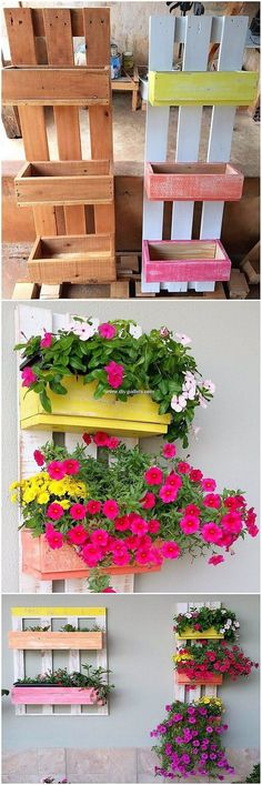Exemplary DIY projects for the reuse of wooden pallets - Pallet Projects Garden Wood Pallet Planters, Diy Planter Box, Diy Planters, Wooden Pallets, Pallet Wood, Pallet Benches, Pallet Couch, Pallet Tables, Pallet Bar