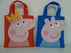 Cute idea for a party favor bag for a Peppa Pig party.