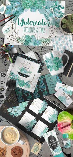 Wedding Watercolor Succulent Set by Zelenkova on @creativemarket
