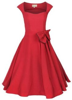 Lindy Bop 'Grace' Classy Vintage 1950's Rockabilly Style Bow Swing Party Dress:Amazon:Clothing