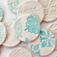 DIY Stamped Clay Magnets - Gathering Beauty  using air dry clay - could also be done with polymer or pottery clay