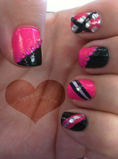 Hot pink & black nail design inspired by queenofblending with rhinestones and stripes