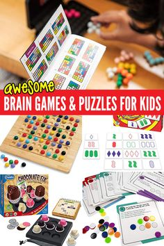 6 Brain Games & Logic Puzzles To Get Kids Thinking.Adults Too! A fun collection of brain games and puzzles to get kids thinking. A fun way to develop problem solving skills at school or home. Games adults will love too! Mind Games For Kids, Fun Mind Games, Kids Brain Games, Mind Games Puzzles, Logic Games For Kids, Puzzle Games For Kids, Memory Games For Kids, Logic Puzzles, Games For Toddlers