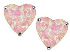 Original Star K 7mm Heart Shape Pink Simulated Opal Earrings Studs - 303450