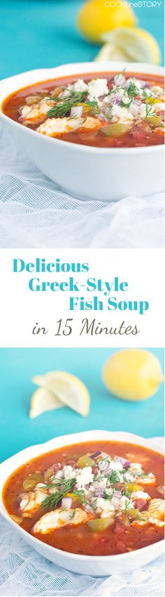 Homemade Greek Fish Soup Recipe - made in 15 Minutes for a quick, easy, flavorful dinner.