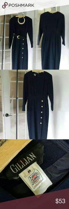 """Vintage 70s navy wool dress Vintage 70s classic cut navy wool dress brass color buttons by Gillian professional dress women's fashion.  Original belt included.  100% wool, size 8.  Please see measurements below to insure fit.   Measurements taken lying flat  Shoulder to shoulder = 17"""" Armpit to armpit = 17"""" Collar to hem = 47"""" Shoulder to cuff = 23"""" Gillian Dresses Long Sleeve"""