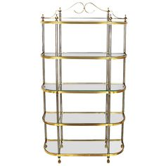 Italian Regency Brass and Brushed Steel, Five Shelf Etagere   From a unique collection of antique and modern shelves at https://www.1stdibs.com/furniture/storage-case-pieces/shelves/