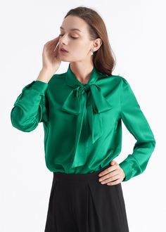 Exaggerated bow tie neckline of this silk blouse can draw people's attention. Plus, you can just keep the bow-tie loose and let it float in the breeze. Bow Tie Blouse, Sexy Blouse, Cheap Boutique Clothing, Leotard Fashion, Warm Dresses, Knitted Coat, Satin Blouses, Fashion Over 50, Women's Fashion