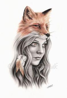 Items similar to Fox Girl Feather Native Indian Spiritual Emo Art Print Zindy on Etsy Grey Tattoo, Black Tattoos, Body Art Tattoos, Fox Tattoo Men, Spirit Animal Tattoo, Animal Tattoos, Easy Drawings, Tattoo Drawings, Native Indian Tattoos