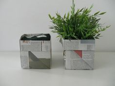 Gabulle in Wonderland:  panier origami en papier journal (basket origami with newspaper) http://gabulleinwonderland.blogspot.fr/