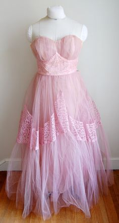 Vintage 1950s Strapless Pink Cupcake Prom Bridesmaid Wedding Dress Tulle Excellent Condition. $115.00, via Etsy.