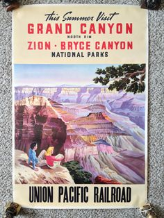 SOLD! 1935 Union Pacific Railroad Original Vintage Travel Posters GRAND CANYON NATIONAL PARK, UTAH
