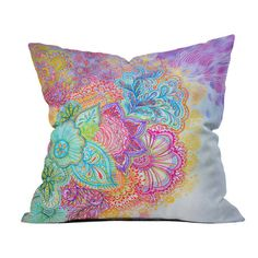 Multicolor throw pillow with a floral motif. Designed by artist Stephanie Corfee.  Product: PillowConstruction Mater...