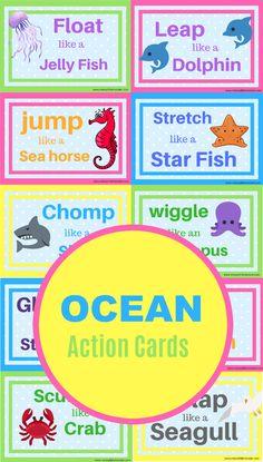 Use as movement break cards Ocean animal movement cards printable. Use as movement break cards Movement Preschool, Movement Activities, Preschool Themes, Preschool Lessons, Classroom Themes, Preschool Music, Animal Activities For Kids, Ocean Activities, Water Animals Preschool