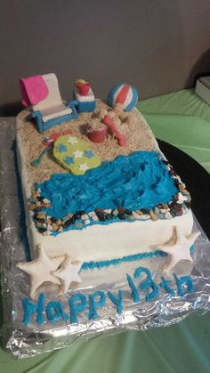 For Dylan's 13th birthday.  Beach Cake.