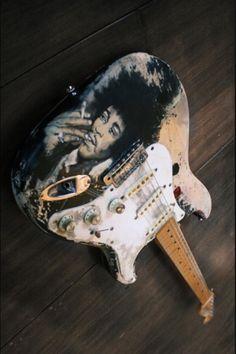 Jimi Hendrix Hand Painted Fender Stratocaster •Artist: Lilian Graumans