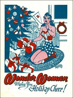 Wonder Woman Christmas Card - - Postcard-sized illustration by H. Peter featuring an image of Wonder Woman placing a present under a Christmas tree marked for Etta Candy. Wonder Woman Kunst, Wonder Woman Art, Wonder Women, Superman, Batman, Christmas Art, Vintage Christmas, Christmas Comics, Christmas Images