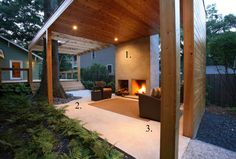Old and new architectural styles combine in this striking backyard Southern pavilion. The focal point (#1) is the striking fireplace. A woven, seagrass rug (#2) softens the space. Water-resistant furniture (#3) makes sense in this space exposed to the elements.