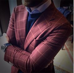 This burgundy windowpane cloth has gotten a lot of attention from our clients this winter. Soft shoulders, half-lined, paired with a custom cashmere crew sweater.