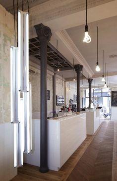 lights, floors, walls and tile bar