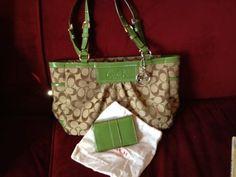 Lot - EUC Coach handbag and wallet - brown signature/green leather
