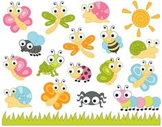 Cute Bugs Clip Art Insects Clipart Ladybug Snail by YarkoDesign Insect Clipart, Dragonfly Clipart, Fall Wood Signs, Porch Welcome Sign, Mothers Day Crafts For Kids, Clip Art, Elements Of Art, Snail, Easy Drawings