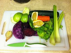 Purple Power Juice Recipe: 2 Celery Stalks, 1/2 Carrot, 1 Cucumber, 1 Handful of Spinach, 1/2 Lemon Peeled, 1 Beet Sliced, 1 Granny Smith Apple, 1/4 Head of Red Cabbage, 1″ of Fresh Ginger Root.  You can replace the Spinach with Kale, the Cucumber with Zucchini, the Apple with an Orange, or the Lemon with a Lime.