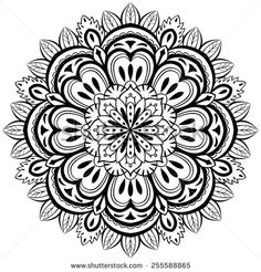 vector, abstract, black mandala with floral elements on a white background