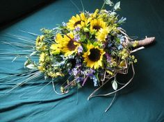 Sunflower Maddness Cascading Bridal Bouquet  Free by DesignMyKind, $120.00