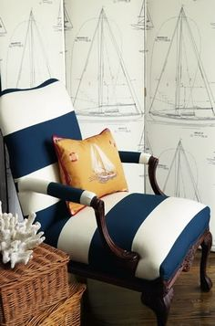Classic nautical touches, horizontal navy and white-striped chair, gold silk pillow and screen with sailboats. Coastal Style, Coastal Living, Coastal Decor, Nantucket Style, Coastal Bedrooms, Coastal Cottage, Coastal Homes, Deco Marine, Calico Corners