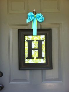 Door or Wall Art Monogram framed Initial Wreath on Etsy, $34.95